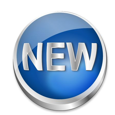 recent: A shiny blue  button showing the word new in metal optic. All on white background.