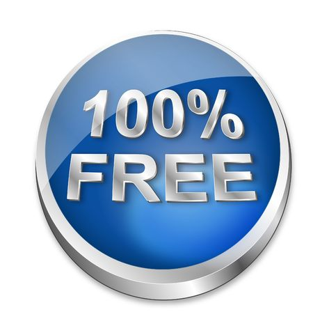 freeware: A shiny blue  button says that something is 100% free. All on white background.