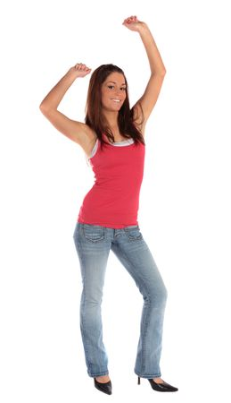 jubilate: An attractive young woman cheering. All isolated on white background.
