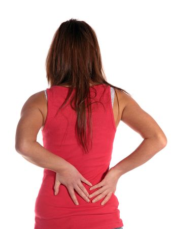 herniated: Young attractive woman suffering from backache. All isolated on white background.