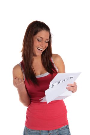 gets: An attractive young woman gets good news. All isolated on white background.