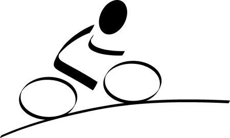sports symbols metaphors: A stylized bikerider. All isolated on white background.