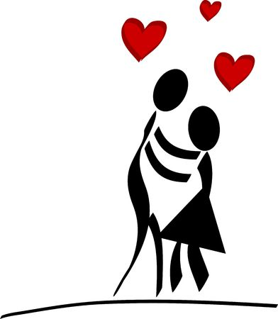 A stylized couple falling in love. All isolated on white background. photo
