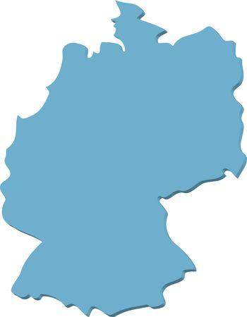 deutschland karte: Eine stilisierte Karte des Deutschland in Blau-Ton. Alle auf weißen Hintergrund isoliert. Lizenzfreie Bilder