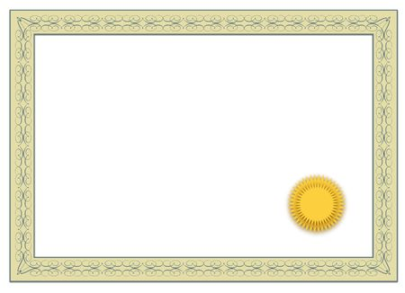 credentials: A simple frame of a typical diploma. All isolated on white background.