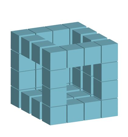 incorporate: Several blocks building a complex module. All isolated on white background.