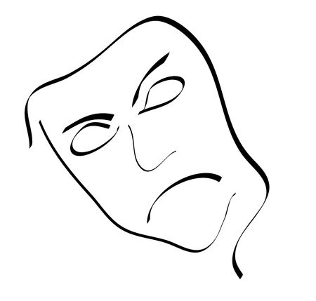 peeve: A stylized face in angry mood. All isolated on white background.