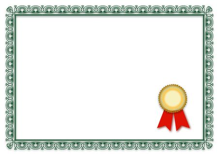 credentials: A simple frame of a typical certificate. All isolated on white background. Stock Photo