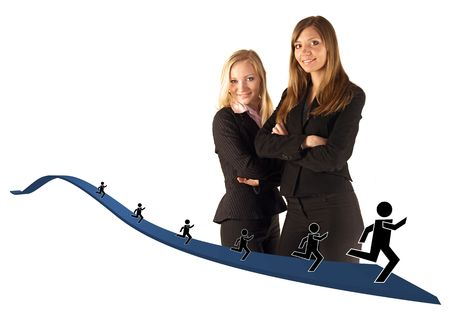 taller: Two young adult businesswomen stand with arms crossed in front of their bodies. They are dressed in dark suits and are isolated on white. Ribbon graphic with running stick figures is layered on the image. ** Note: Slight blurriness, best at smaller sizes.