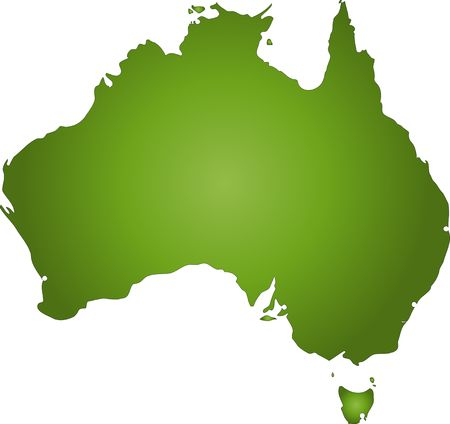 locate: A stylized map of Australia in green tone. All isolated on white background. Stock Photo