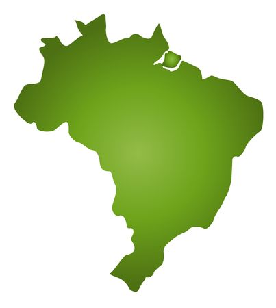 plotting: A stylized blank map of Brazil in green tone. All isolated on white background. Stock Photo