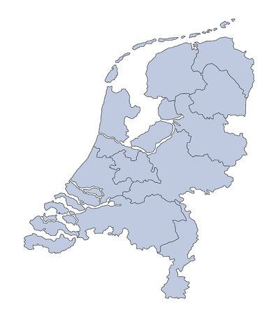 A stylized blank map of the Netherlands. All isolated on white background. photo