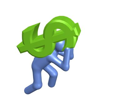 allowance: A stylized person carrying a dollar sign. All isolated on white background.