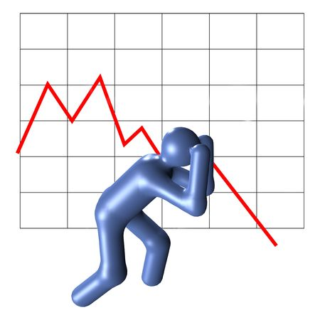 desperate: A stylized desperate person in front of crashing chart. All isolated on white background.