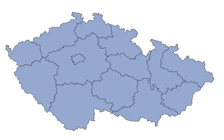 plotting: A stylized blank map of the Czech Republic in blue tone. All isolated on white background.