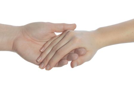 helpfulness: Two person holding their hands. All isolated on white background.