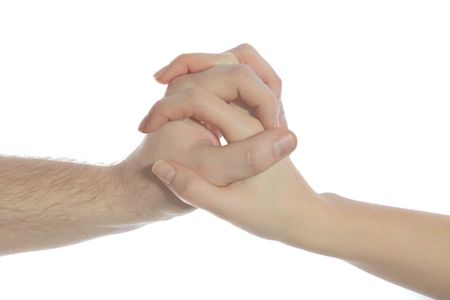 helpfulness: Two person holding hands. All isolated on white background.