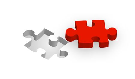 A red piece of a puzzle lying next to the suitable gap. Stock Photo - 6457918