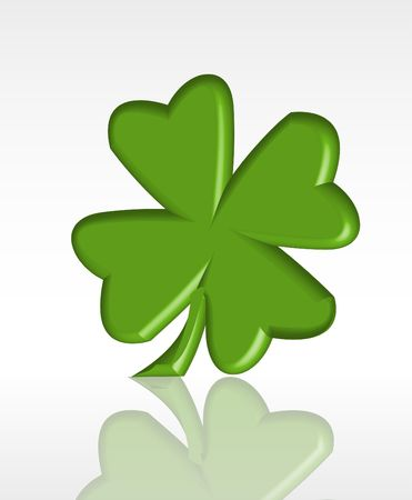 fourleaf: A stylized four-leaf clover. A traditional symbol of luck. Stock Photo