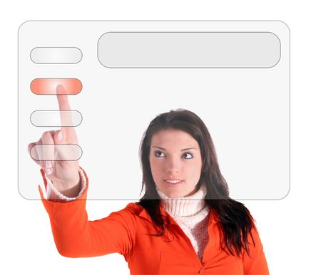 compulsory: A young woman using a modern interface menu. All isolated on white background.