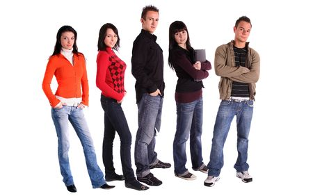 clique: Five teenager standing side by side. All isolated in white background. Stock Photo