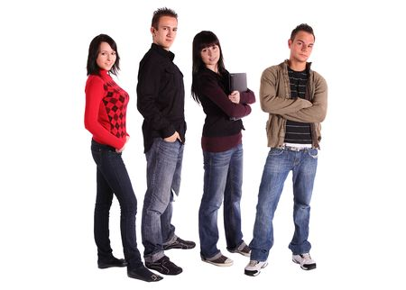 fresher: Four teenager standing side by side. All isolated in white background.