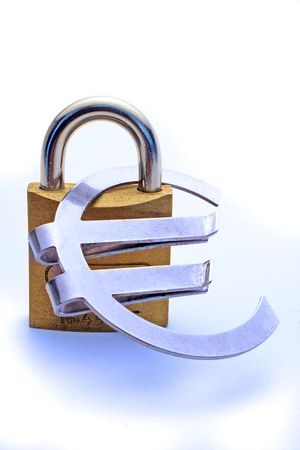 A massive lock holding a Euro symbol to symbolize safe investment of money. photo