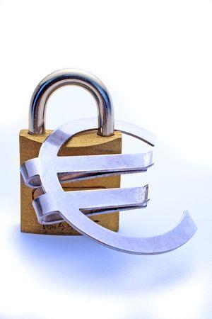 assure: A massive lock holding a Euro symbol to symbolize safe investment of money.