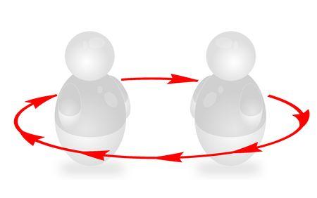 Dos personas estilizadas interact�an. Todos aislados sobre fondo blanco.  Foto de archivo - 6457987