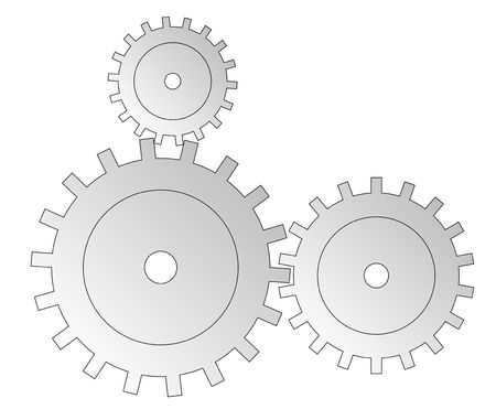 chain reaction: Three cogwheels in grey tone. All isolated on white background.