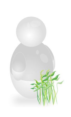 biologist: A stylized person standing next to some fresh seedlings. All isolated on white background.