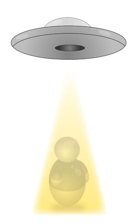 brainwash: An ufo catching a stylized person with a yellow beam. All isolated on white background.