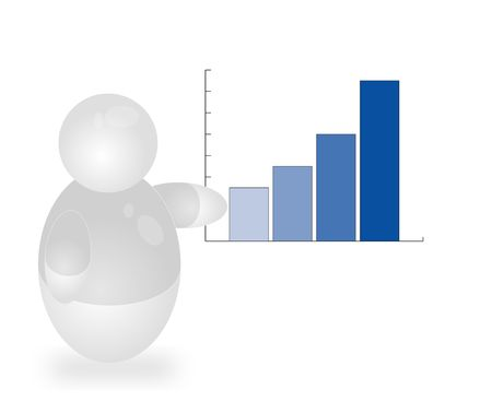 stockexchange: A stylized person presenting a positive annual report. All isolated on white background.