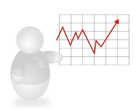 Een gestileerde persoon permanent naast een positieve grafiek. Alle geïsoleerd op een witte achtergrond. Stockfoto
