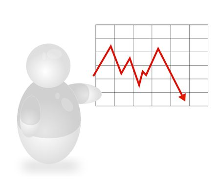 stockexchange: A stylized person presenting a negative annual report. All isolated on white background.