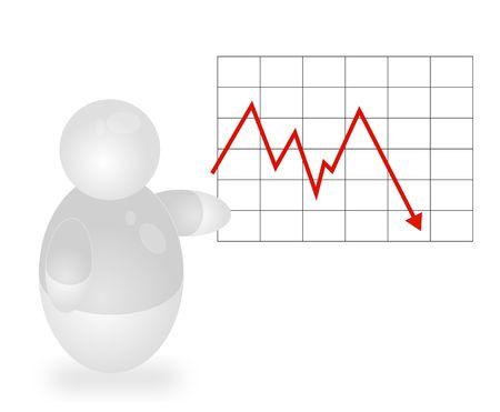 Een gestileerde persoon een negatief jaarlijks verslag te presenteren. Alle geïsoleerd op een witte achtergrond.  Stockfoto