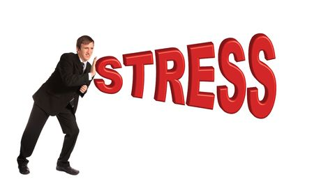 stemming: A young businessman braces himself against the word stress. All isolated on white background.