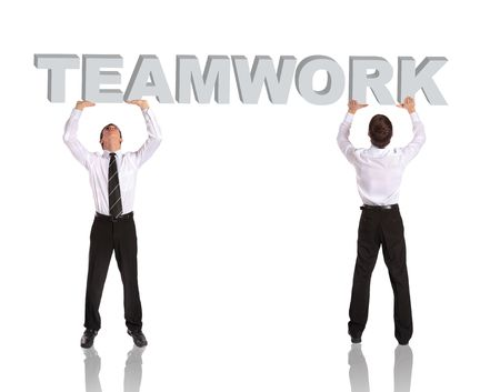collaborative: Two businessman lifting up the word teamwork. All isolated on white background.