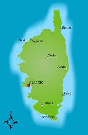corsica: A stylized map of the french island Corsica showing different cities. Stock Photo