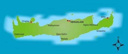 A stylized map of the greek island Crete showing different cities.