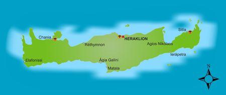 Eine stilisierte Karte von der griechischen Insel Crete mit verschiedene Städten.