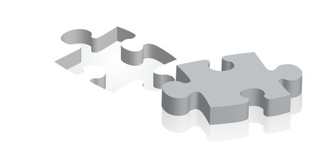 gaps: A grey piece of a puzzle lying next to the suitable gap. Stock Photo