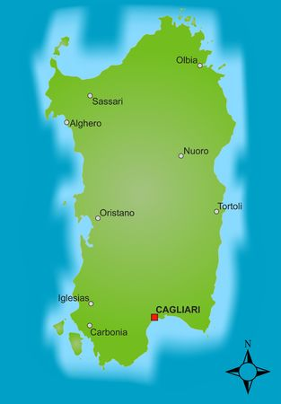 A stylized map of the italien island Sardinia showing different cities. photo