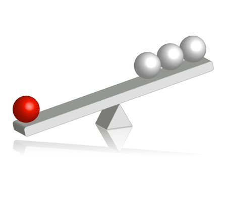 allocation: An illustration showing a seesaw with one heavy red ball on the one side and three light white balls on the other side.