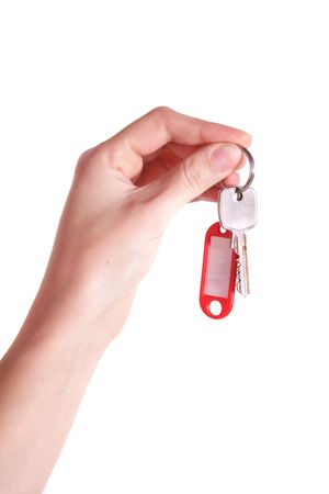 housemate: Someone handovers some keys. All isolated on white background.