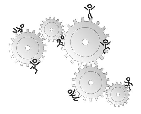 chain reaction: Several matchstick men climbin on cogwheels. All isolated on white background.