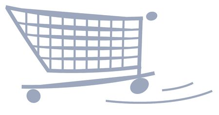 An illustrated shopping cart. All isolated on white background.