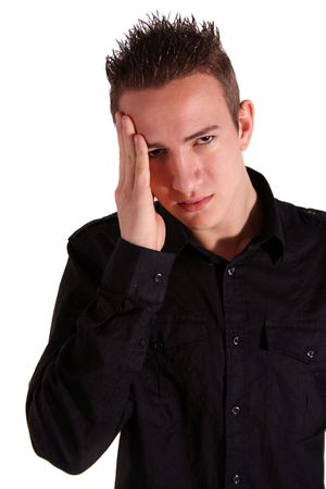 overtired: A young man suffers from migraine. All isolated on white background. Stock Photo
