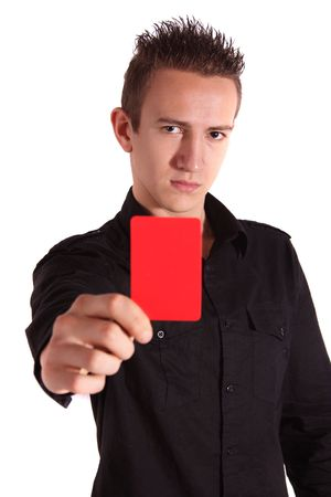 admonish: A young handsome man shows someone a red card. All isolated on white background.