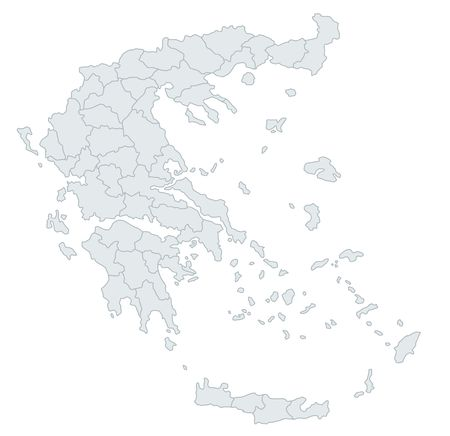 grecian: A stylized map of Greece showing the different provinces. All isolated on white background. Stock Photo